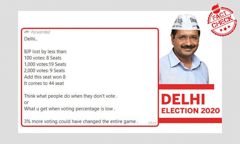दिल्ली में 36 सीटों पर बीजेपी बेहद कम अंतर से हारी? नहीं, यह फ़र्ज़ी है