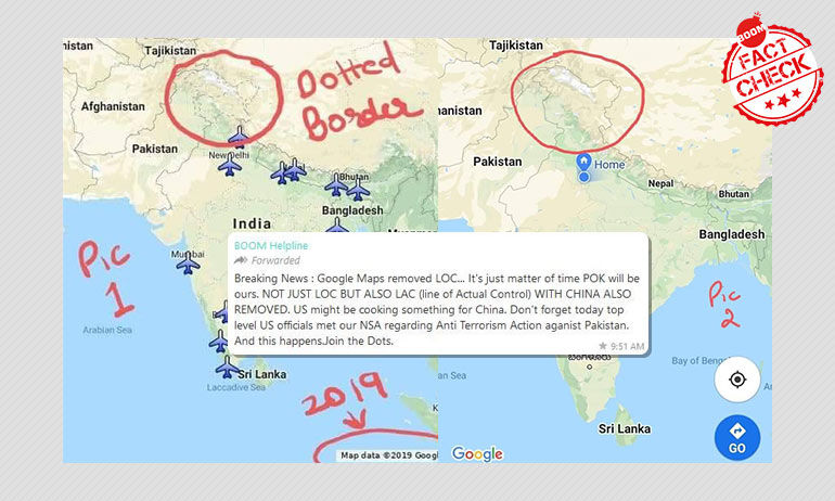 फ़ैक्ट चेक: क्या गूगल मैप्स ने भारत और पाकिस्तान के बीच बनी एलओसी को हटाया?