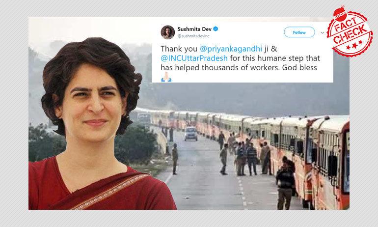 नहीं, यह तस्वीर प्रियंका गांधी वाड्रा द्वारा प्रवासी मज़दूरों के लिए आयोजित बसों की नहीं है