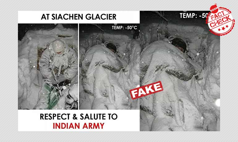 जी नहीं, ये तस्वीर सियाचिन में भारतीय सैनिक की हालत नहीं दिखाता है
