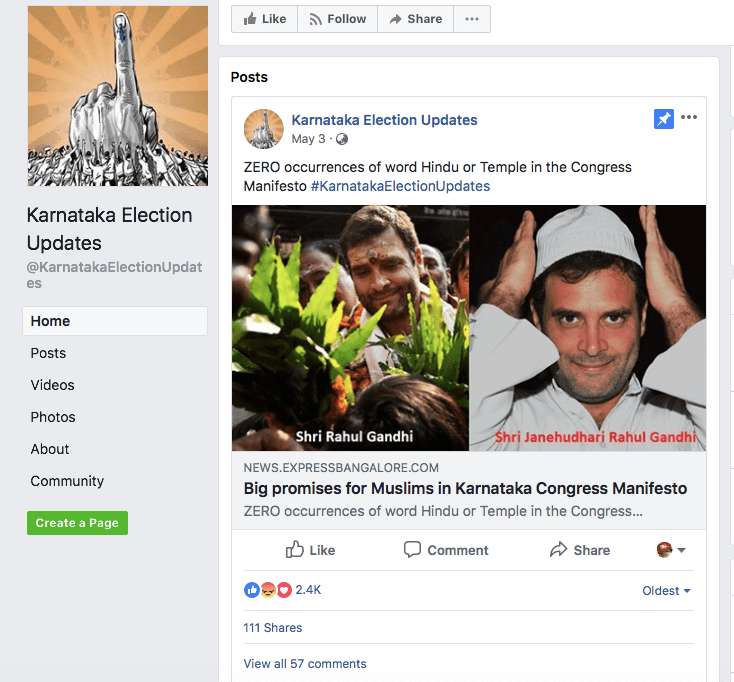 Karnataka election page